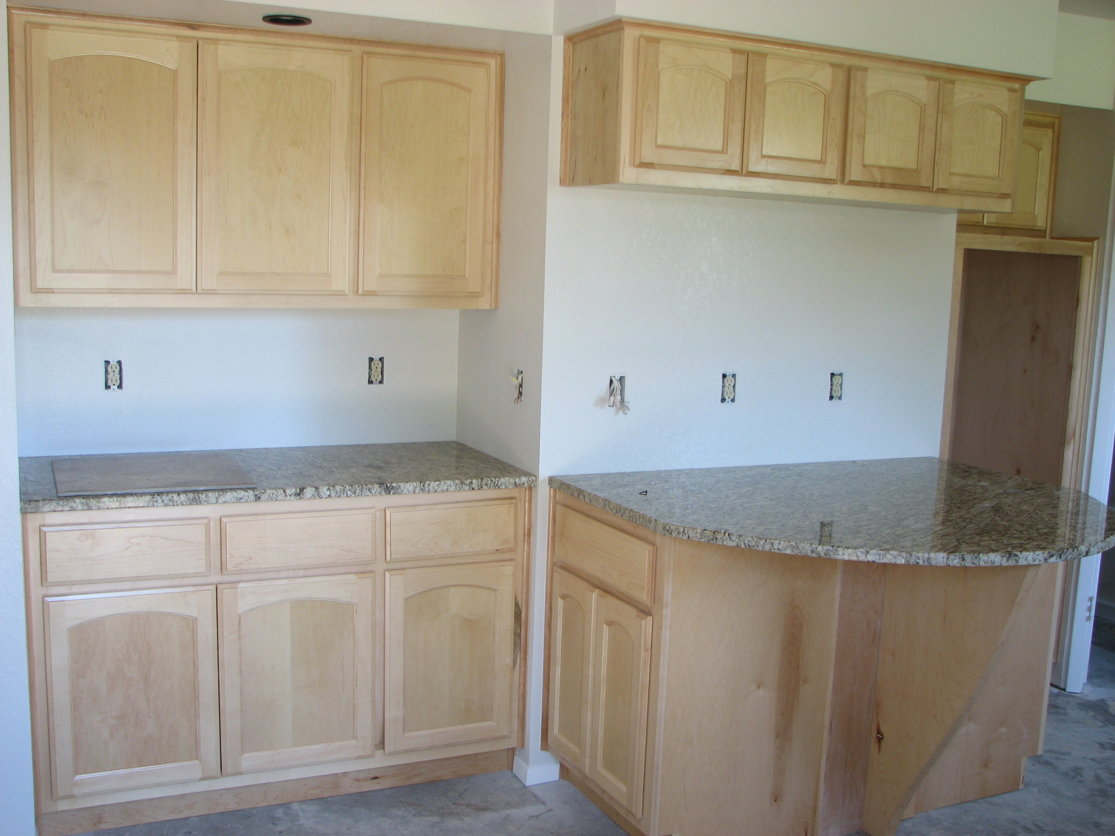 Natural maple wooden cabinets