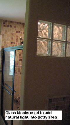 Glass block shower designs in Austin, Texas