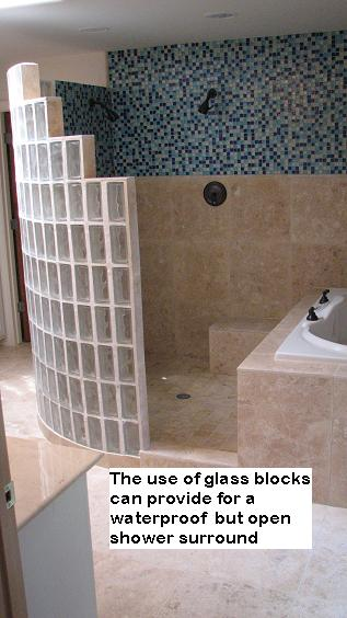 custom walk in glass block shower designs in austin texas