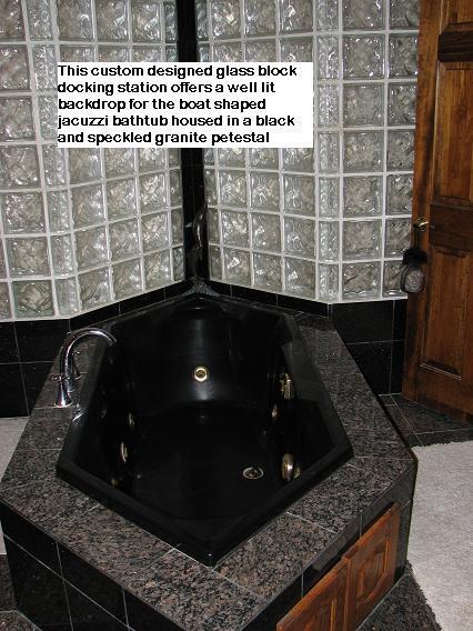 Glass Block accented Granite Tub Pedestalnite Tile