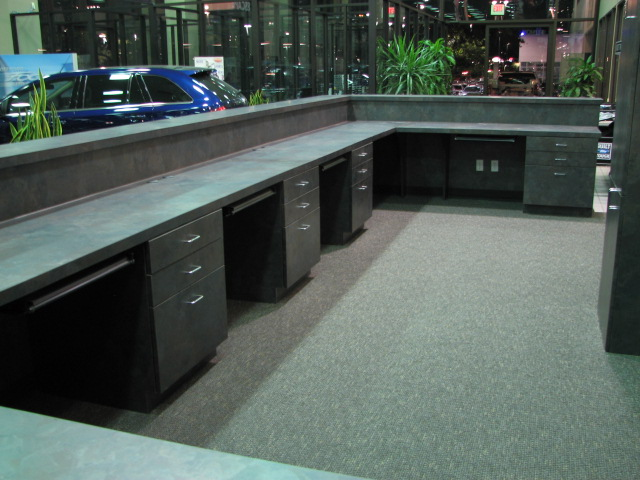 Multiple work stations in commercial fine cabinetry in Austin, Texas.