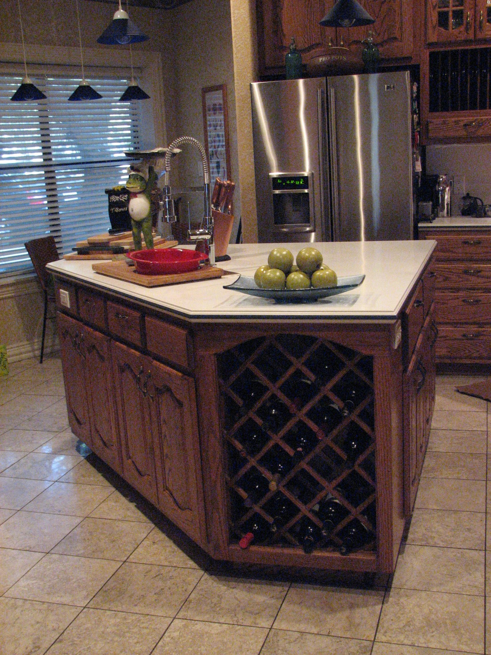 Custom Kitchen Islands With Wine Storage Area