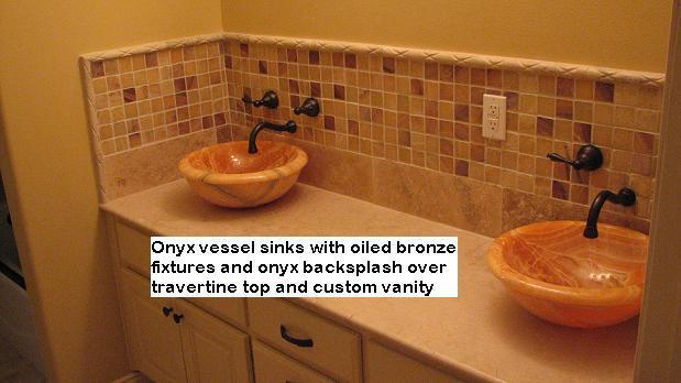 Onyx and Limestone mixed Countertops