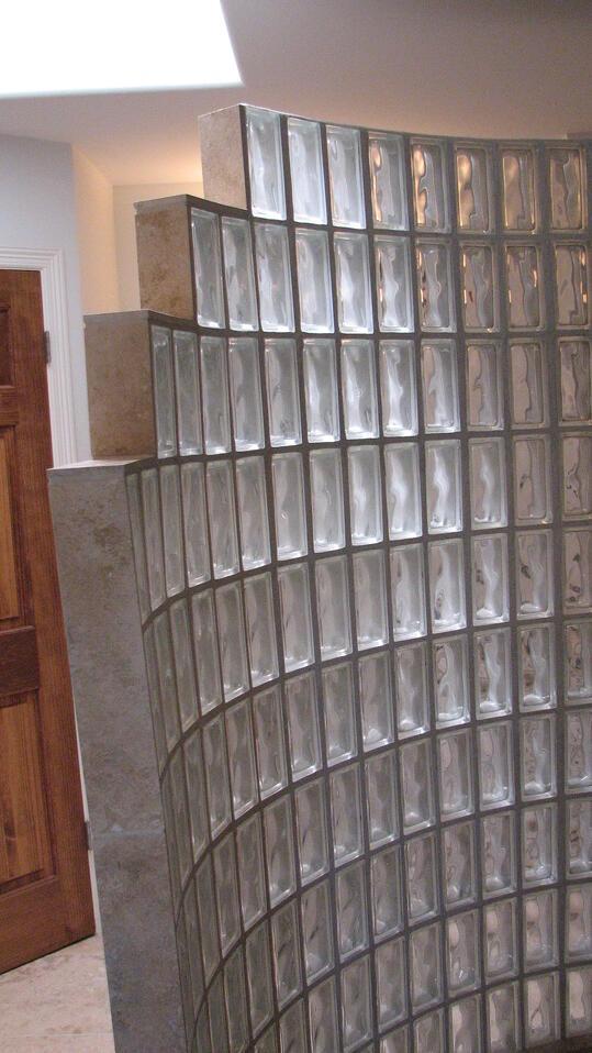 glass block walk in shower designs in Austin, Texas