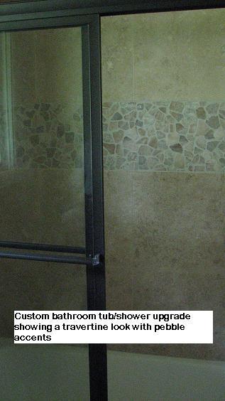 Pebble stone tile accents in Austin, Texas