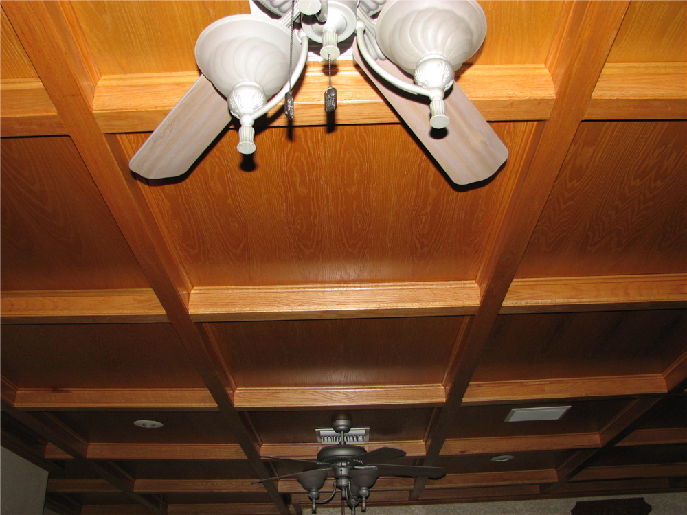 A Natural Red Oak Ceiling Showing Beams and Coffers