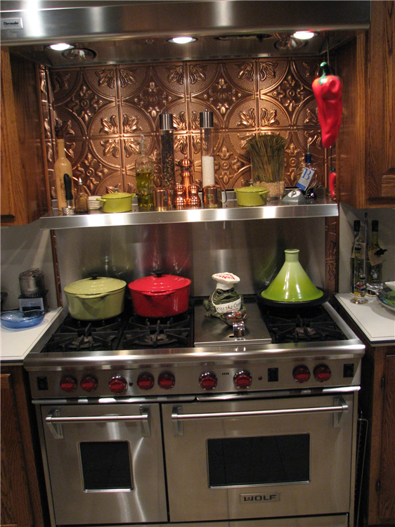 Stainless Steel with a Copper Back Splash