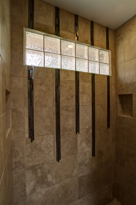 Glass Blocks in Shower with Glass Tile Teardrop Accents