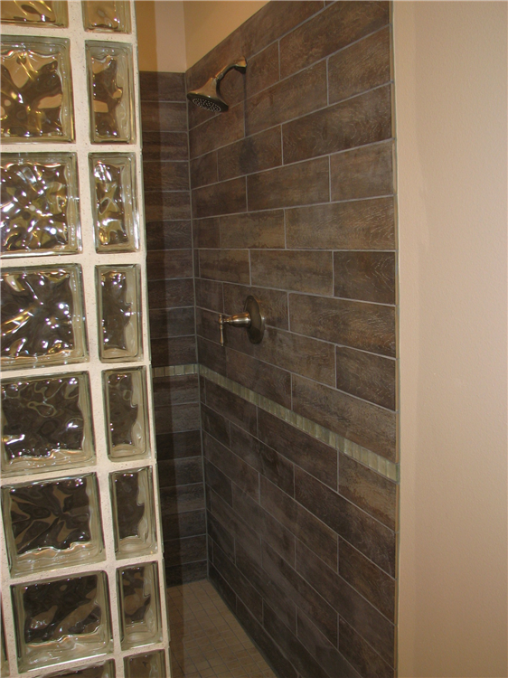 Barn Wood Tile Shower With Glass Block Surround