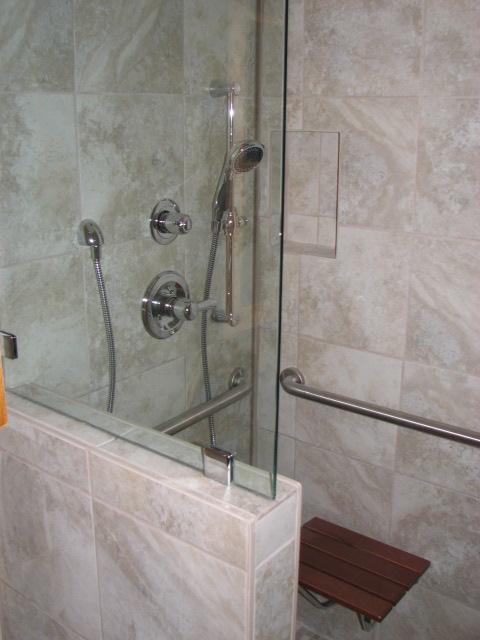 Curbless roll in ADA shower in Austin