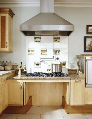 ADA kitchen with roll under cooktop