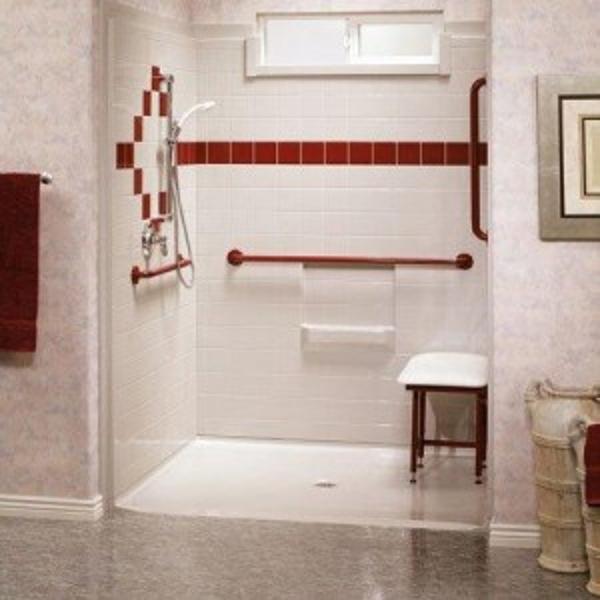 Wheelchair roll in shower designs