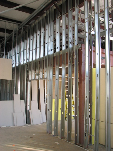 Metal framing used in our tenant finishes