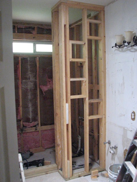 Framing for a new walk in shower