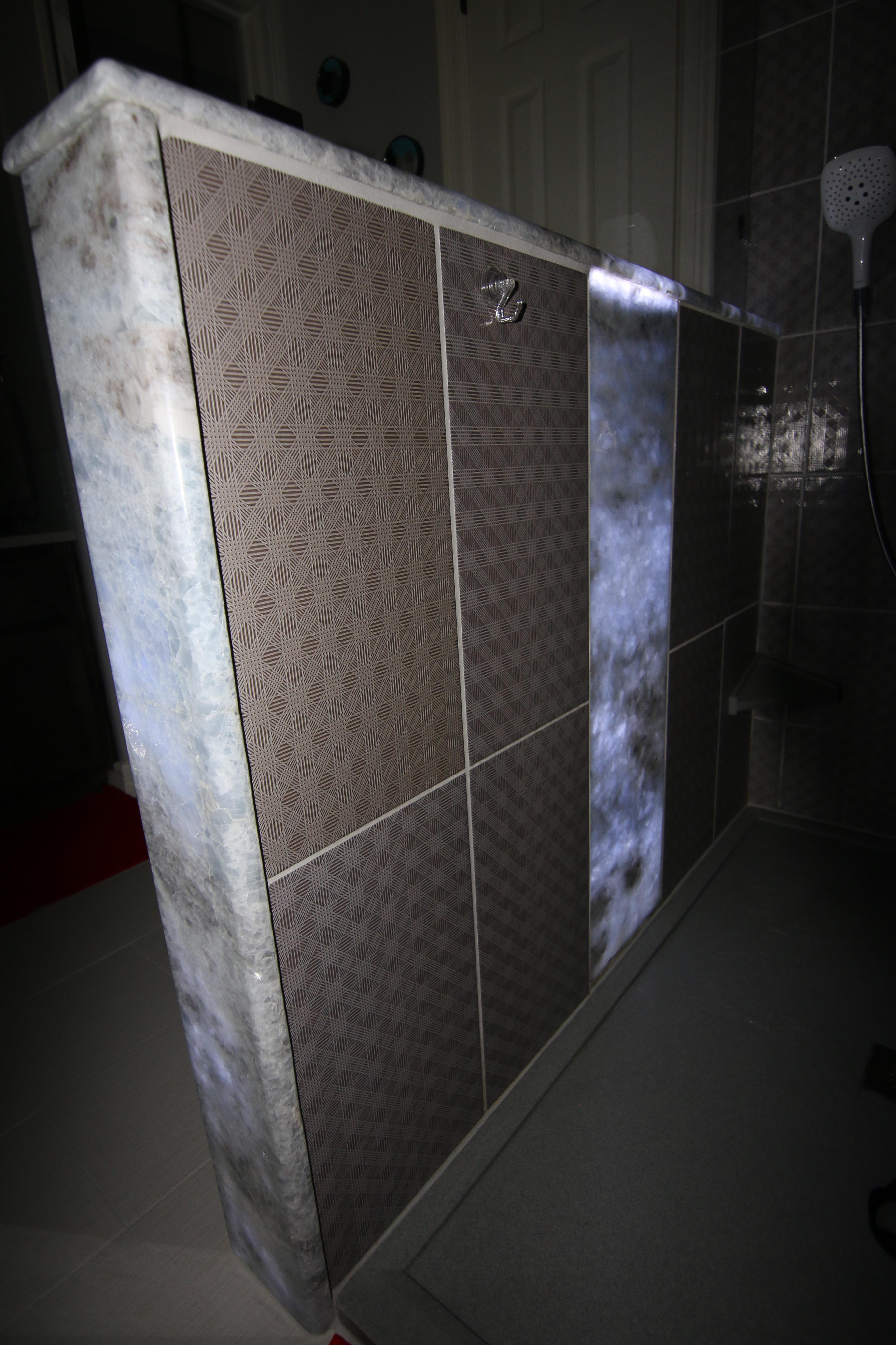 Custom Shower With Back Lit Onyx Panels In Austin